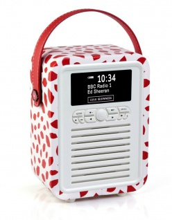 VQ Retro Mini Digital-Radio Red Lip DAB DAB+ FM Bluetooth Weckfunktion Wecker