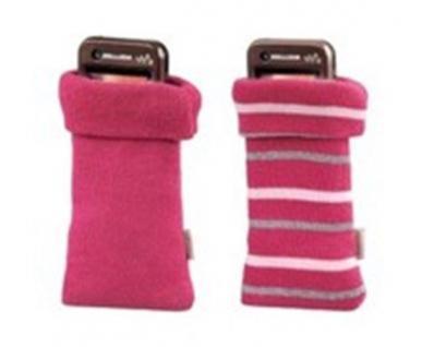 Hama Handysöckchen Handytaschen Strick 2er Set Pink Baumwolle