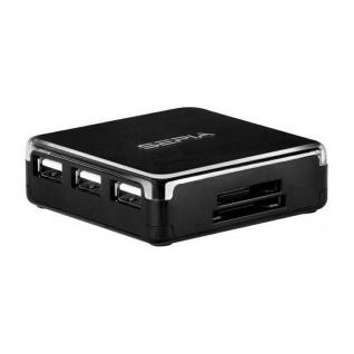Sepia USB Kartenleser + USB Hub Adapter Multi Card-Reader SD SDHC MMC CF MS xD