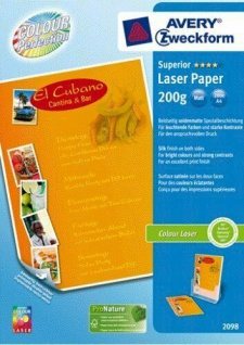 Avery Zweckform PACK 1000 Blatt A4 200g Superior Colour-Laser Papier weiß matt