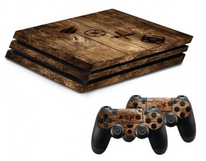 Design-Folie Skin Holz Gehäuse-Aufkleber Vinyl für PS4 PRO Konsole Controller