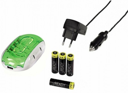 Hama Delta Plus Batterie-Ladegerät + USB-Port + 4x AA-Akku + KFZ Akku-Ladegerät