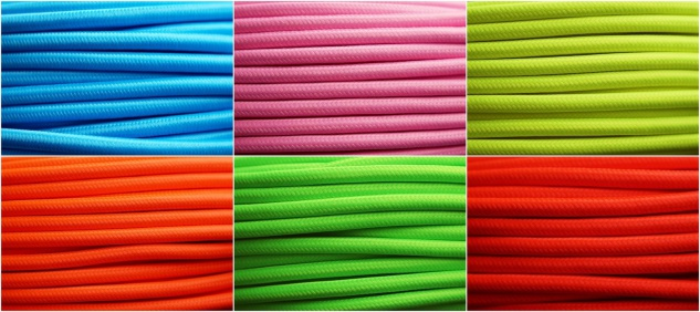 Textil Stromkabel Lampen-Kabel Stoff 3 x 0, 75mm² Neon Elektro Stromleitung - Vorschau 1