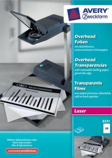 Avery Zweckform 100x Folien klar A4 Laser-Drucker für Overhead Projektor Films