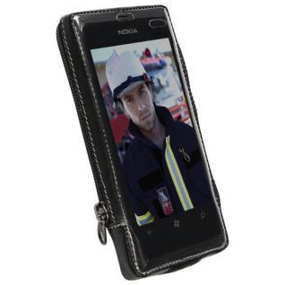 Krusell Handy-Tasche Clip Leder für Nokia Lumia 800 Schutz-Hülle Case Cover Bag