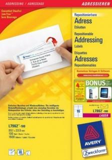 Avery Zweckform L7962 1600x Adress-Etiketten ablösbar A4 Drucker Adressaufkleber