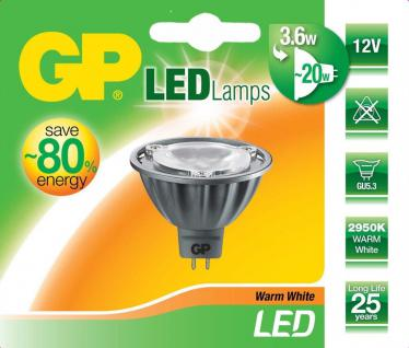 GP LED Strahler MR16 GU5.3 3, 6W / 20W Warmweiß GU-5, 3 Lampe Birne Leuchtmittel