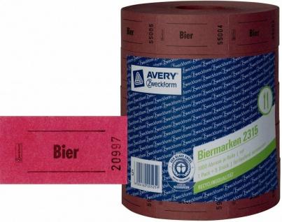 Avery Zweckform 5x Bon-Rolle rot 5000x Bier-Marke Getränke-Marke Bon Marken Bons
