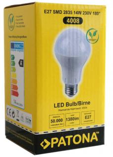 Patona LED Birne E27 14W / 120W Warm-Weiß 3000K LED-Lampe Glühbirne Leuchtmittel