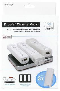 Induktion Lade-Station 3x Akku für Wii Wii-U Controller Ladegerät Docking Lader