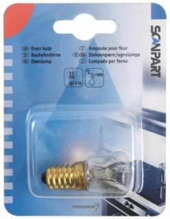 ScanPart 15W E14 Klar Backofen-Lampe 300 °C Leuchtmittel Glühbirne Backofen etc