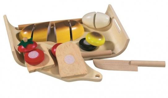 Funtoys Holz Lebensmittel-Set Brot Gemüse mit Messer Kinder Kaufladen Küche Korb