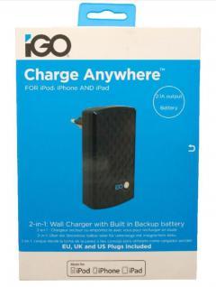 iGo Not-Akku Power Bank 1700mAh + USB Ladegerät 2.1A Netzteil für Tablet PC iPad