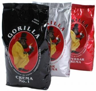 Gorilla Kaffee Espresso 3 Stück Super-Bar Crema No.1 je 1.000 g Bohnen 3 x 1 kg