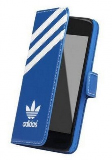 Adidas Booklet Case Blau Klapp-Tasche Flip-Cover Hülle Etui für Apple iPhone 5C
