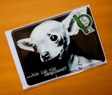 Nostalgie Blech Metall Postkarte bin ich ein Kampfhund?