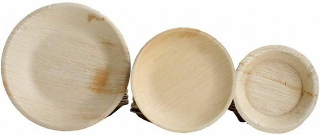 100x Palmblatt Einweg-Teller rund Bio Eco-Geschirr v. Größen kompostierbar Party