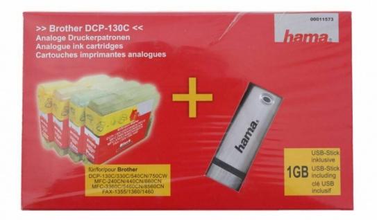 Hama 4x Drucker-Patrone USB-Stick für Brother DCP-130C MFC-240CN Fax 1460 Tinte