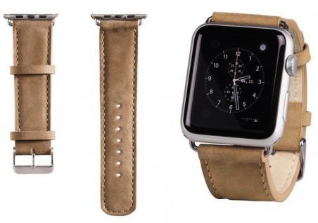 Hama Uhren-Armband Uhren-Band Velour Style Nuss für Apple Watch iWatch 38mm 42mm