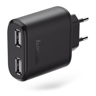 Hama 2-fach USB-Ladeadapter 24W Schnell Ladegerät Netzteil für Handy Tablet