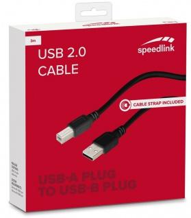 Speedlink HQ 3m USB 2.0 USB-Kabel Typ A-B Stecker Anschluss-Kabel Drucker Hub ..