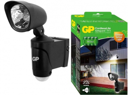 GP LED Strahler Bewegungsmelder IP44 Spot Bewegungs-Sensor Batterie-Betrieb Hell