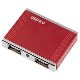 Hama 4-Port 2.0 USB Hub Alu Rot Verteiler Extender Splitter 4-Fach 4x Ports