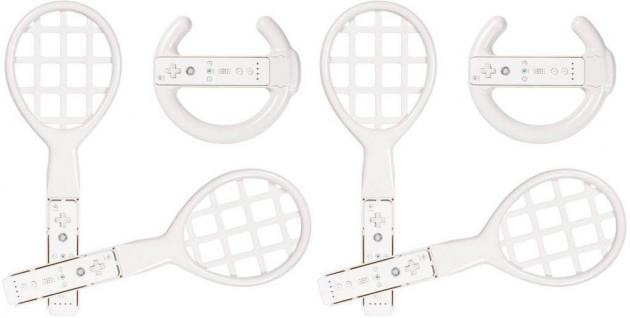 Brooklyn SET 4x Tennis-Schläger 2x Wheel Lenkrad für Wii WiiU Wiimote Controller