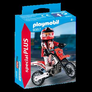 Playmobil 9357 Motocross-Fahrer Motorrad mit Offroad-Reifen Rennfahrer Spielzeug