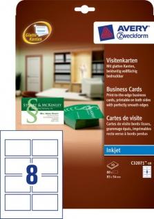 Avery Zweckform 80x Profi Visitenkarten Karten glatte Kanten Bögen A4 Drucker