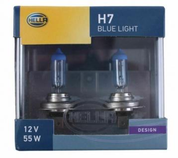 Hella Design H7 Halogen-Lampe Blau 12V 55W 4000K Glüh-Birne PKW Auto Licht PX26d
