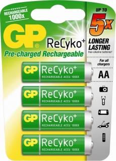 GP Premium 4x AA-Akku ReCyko 1000x wiederaufladbar Mignon HR6 Batterie AA Akkus