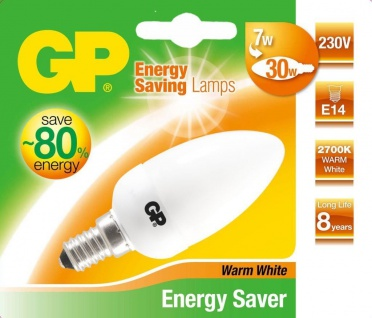 GP Energiespar-Lampe E14 7W / 30W Kerze Warmweiß Lampe Glüh-Birne Leuchtmittel