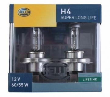 Hella H4 Halogen-Lampe Super Longlife 12V 55W Glüh-Birne PKW Auto-Licht P43t-38