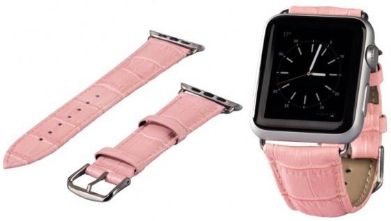 Hama Uhren-Armband Uhren-Band Croco Style Rosa Kroko für Apple Watch iWatch 38mm
