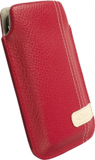 Krusell Gaia Mobile Pouch M red Leder-Tasche Etui Flap Bag Hülle