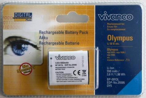 Vivanco Li-Ion Akku für Olympus Li-50B mju 1010 1020 1030 SW 9000 9010 8010 850