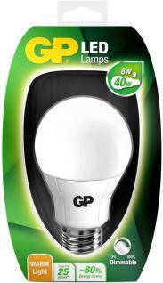 GP LED Birne dimmbar E27 8W/40W Warmweiß 2700K LED-Lampe Glühbirne Leuchtmittel