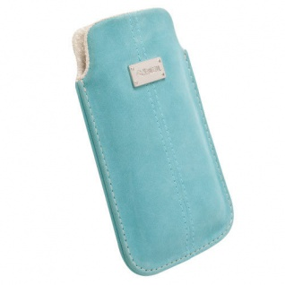 Krusell Luna Mobile Pouch L türkis Nubuck Case Leder-Tasche Etui Flap Bag Hülle