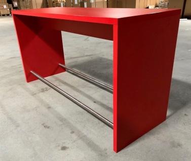 Design Küchen-Tresen Bar Theke rot mit Edelstahl Fußablage Schreiner-Qualität