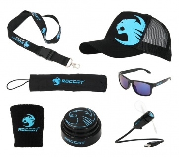 Roccat Regenschirm Sonnenbrille Ventilator Kappe großes Gaming Set Geschenk Neu