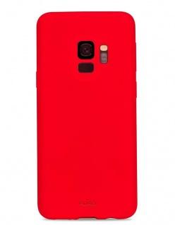 Puro ICON Cover Silikon Schutz-Hülle Soft Case Tasche Rot für Samsung Galaxy S9