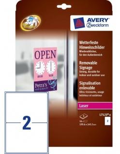 Avery 16x Hinweis-Schilder Hinweis-Etiketten wetterfest Aukleber A4 Beschriftung