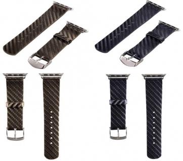 Hama 2x PACK Uhren-Armband Uhren-Band Carbon Style für Apple Watch iWatch 42mm