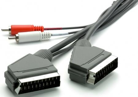 Scart-Kabel AV + 2x Cinch-Stecker für TV DVD Blu-Ray Player Anlage Receiver HiFi