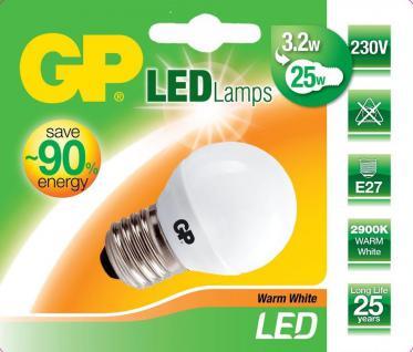 GP LED Mini Birne E27 3, 2W/25W Globe Warmweiß 2900K Lampe Glühbirne Leuchtmittel