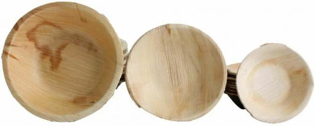 10x Palmblatt Einweg-Schale rund Bio Eco-Geschirr Party kompostierbar v. Größen