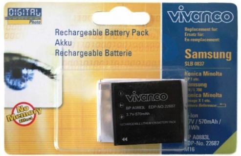 Vivanco Li-Ion Akku für Samsung SLB-0837 Digimax NV10 NV15 NV20 L70 L73 L79 L80