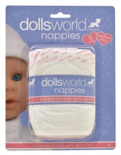 Dolls World Puppen-Windeln Vorteils-Pack 5 Stück New Born Baby-Puppen bis 46cm