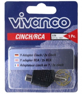 Vivanco Audio Cinch Y-Adapter Verteiler 1 Cinch-Stecker - 2 Chinch-Buchse RCA
